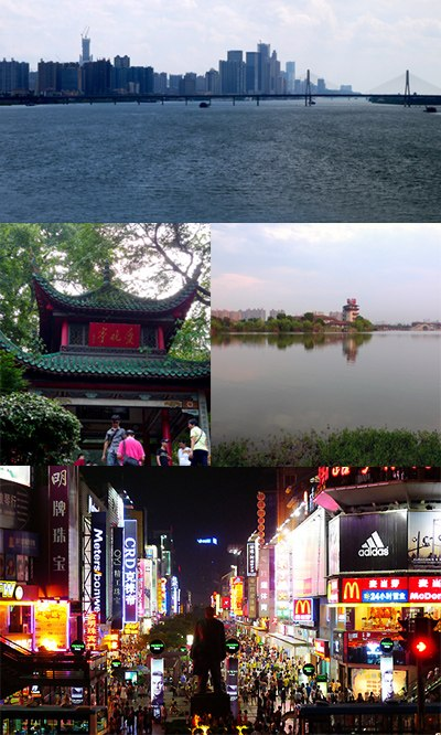 Clockwise from top: Skyline of Changsha, Yuehu Park, Huangxing South Pedestrian Street, Aiwan Pavilion