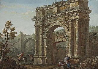 Arch of the Sergii - 18th-century artwork by Charles-Louis Clérisseau showing the Arch of the Sergii and the original gateway (the Porta Aurea) which it was built against.