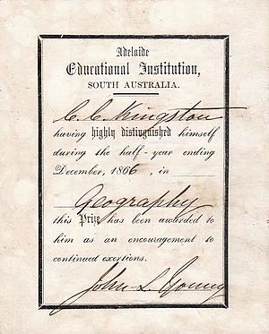 Adelaide Educational Institution - An academic certificate awarded to Charles Kingston from the Adelaide Educational Institution