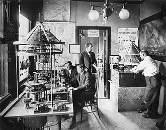 Charles Herrold - Photograph of Charles Herrold's San Jose California radio laboratory, circa 1912. Herrold is standing in the doorway.