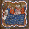 Charles d'Anjou, roi de Sicile, devant le lit d emort de s. Louis.png