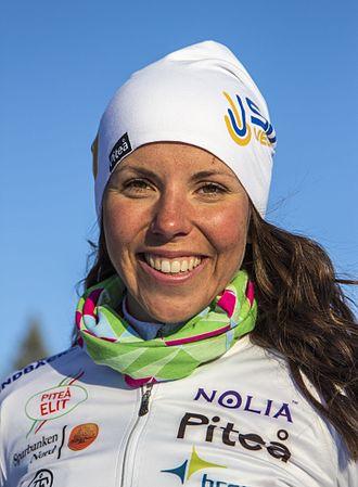 Cross-country skiing at the 2018 Winter Olympics – Women's 15 kilometre skiathlon - Image: Charlotte Kalla 2015 03 25 001