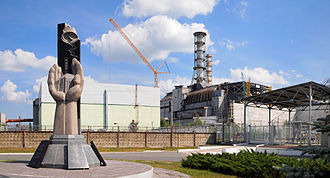Chernobyl Nuclear Power Plant - Monument, fourth reactor and its enclosing sarcophagus