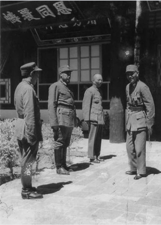 Golok rebellions (1917–1949) - Gen. Chiang Kai-shek (right) meets with Hui commanders Gen. Ma Bufang (second from left) and Gen. Ma Buqing (first from left) in Xining in August 1942.