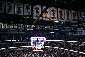 Scottie Pippen - Chicago Bulls Championship banners hang in the rafters of the United Center