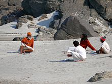 Chitchat at bank of River Ganga at Rishikesh photographed by Sumita Roy.jpg
