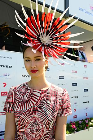 Fascinator - Woman wearing a large fascinator at the Melbourne Cup, 2013
