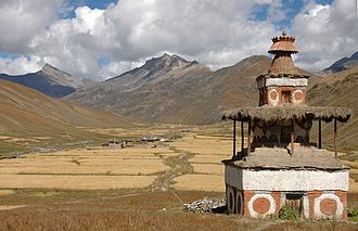 Dolpo - Chorten with barley fields; Tarap Valley in the southern part of Dolpa.