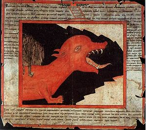 "Christian views on hell - ""A Monster from Hell"". A 19th-century Russian hand-drawn lubok."