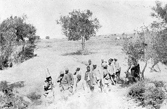 Battle of Chunuk Bair - Turkish POWs being escorted in Chunuk Bair