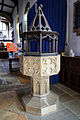 Church of St Mary Hatfield Broad Oak Essex England - baptismal font.jpg