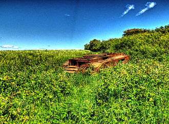 Parham Park - The remains of a Churchill MK2 Tank on Kithurst Hill that was used for target practice by the Canadian troops based at Parham during the Second World War.