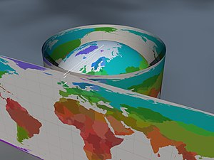 Lambert cylindrical equal-area projection - How the Earth is projected onto a cylinder
