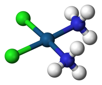 Coordination complex - Cisplatin, PtCl2(NH3)2, is a coordination complex of platinum(II) with two chloride and two ammonia ligands.  It is one of the most successful anticancer drugs.