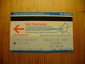 Rail Clearways Program - CityRail ticket with Rail Clearways promotional material
