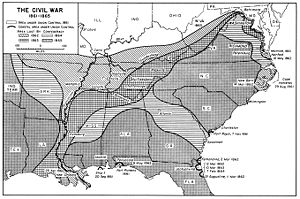 american civil war a map of the us south showing shrinking territory under rebel control