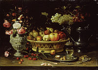 Clara Peeters - basket of fruit with a tazza holding grapes a bouquet of flowers and a flagon WA1940.2.61.jpg