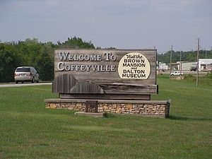 Coffeyville, Kansas - Sign at the entrance to the city (2006)