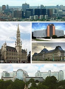 Clockwise from top: The Northern Quarter business district; the Berlaymont of the European Commission; the Royal Palace of Brussels; the Espace Léopold of the European Parliament; the Grand Place
