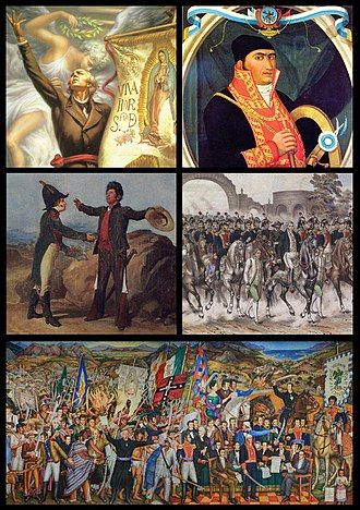 Mexican War of Independence - Clockwise from top left: Miguel Hidalgo, José María Morelos, Embrace of Acatempan between Iturbide and Guerrero, Trigarante Army in Mexico City, Mural of independence by O'Gorman