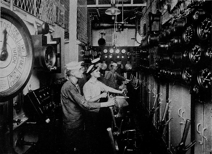 "Collier's 1921 Navy, United States - Control Room of the ""Tennessee"".jpg"