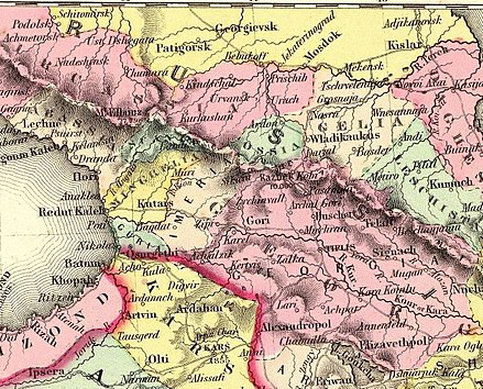 "Fragment of the 1856 map by J. H. Colton, showing the territory of modern South Ossetia within Georgia and Imeria. Modern North Ossetia corresponds to ""Ossia"" (Ossetia) in the North Caucasus. Colton, G.W. Turkey In Asia And The Caucasian Provinces Of Russia. 1856 (BB).jpg"