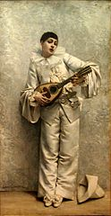 Pierrot playing the mandolin