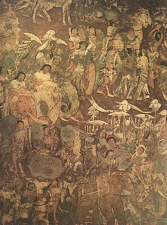 "Early kingdoms period - A section of the mural from Ajanta Caves 17, depicting the ""coming of Sinhala""."