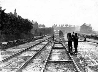 History of Leeds - Construction of the former Leeds Tramway along Roundhay Road in Harehills, Leeds.