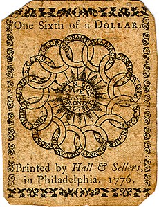 Continental Currency one-sixth dollar banknote reverse (Plate C, February 17, 1776).jpg