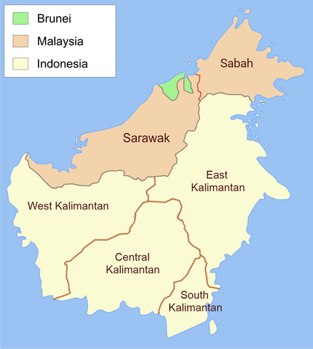 Boundaries of Brunei (green) since 1890 Control of the island of Borneo.png