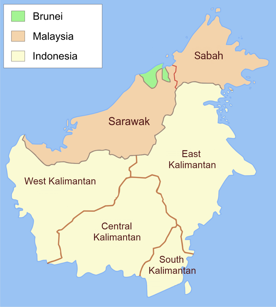 Control of the island of Borneo