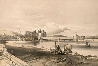 Conway Bridge. Construction of second tube, September, 1848