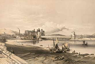 Tubular bridge - Conwy Bridge.Construction of second tube, September, 1848