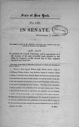 History of Cornell University - 1865 Senate bill to establish Cornell University