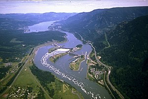 Aerial view of Columbia River and Bonneville Dam