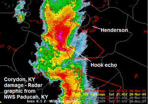 March 2009 tornado outbreak sequence - Radar image of the supercell thunderstorm which spawned the EF3 Corydon, Kentucky tornado