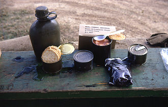 C-ration - A United States Airman's Meal, Combat, Individual ration (also called a C-Ration). DaNang, Vietnam, circa 1966–1967. The canteen was not part of the ration. Note the foil wrapped accessory pack. The unopened cans contained white bread and date pudding.