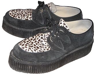 Teddy Boy - Typical black suede creepers fashionable during the 1950s.