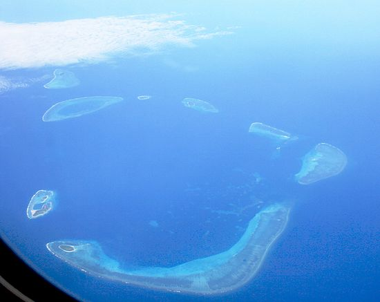 Aerial photograph of the Crescent Group, Paracel Islands