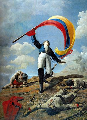 Latin American art - La Muerte de Girardot en Bárbula, by Venezuelan painter Cristóbal Rojas, oil, 1883