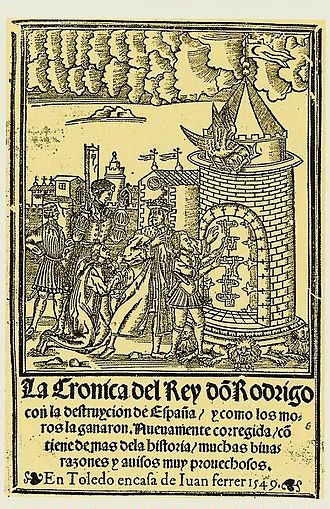 Roderic - Titlepage of La Crónica del rey don Rodrigo (The Chronicle of the Lord King Roderic) published by Juan Ferrer (1549), recounting the legendary deeds of Roderic