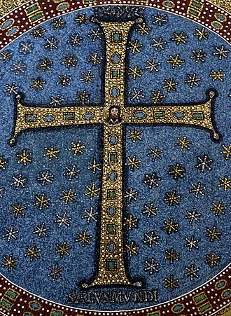 Christian cross - Latin cross from the 6th-century mosaic in the Basilica of Sant' Apollinare in Classe, Ravenna