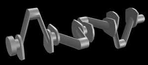 Crossplane - 3d model of a cross-plane crankshaft demonstrating the 90 degree angle between the crank throws.