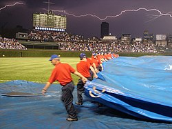 Wrigley Field during a thunder storm