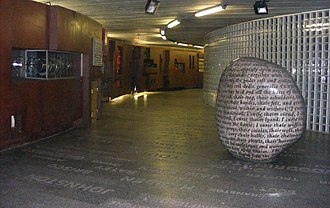 Bullaun - The Cursing Stone at Millennium Bridge Subway in Carlisle, England, February 2011