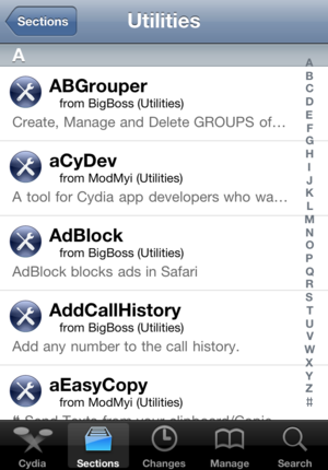 Screenshot of Cydia Installer