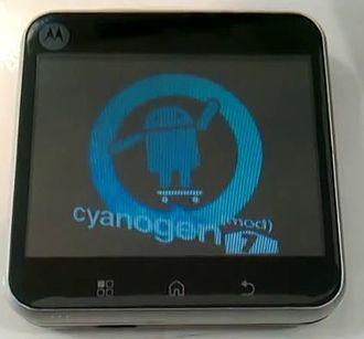 CyanogenMod - A Motorola Flipout displaying the CyanogenMod 7.2 (Android 2.3) boot animation