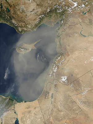 Geography of Cyprus - Sandstorm in the Levant, October 19, 2002