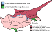 Map of Cyprus showing political divisions and districts